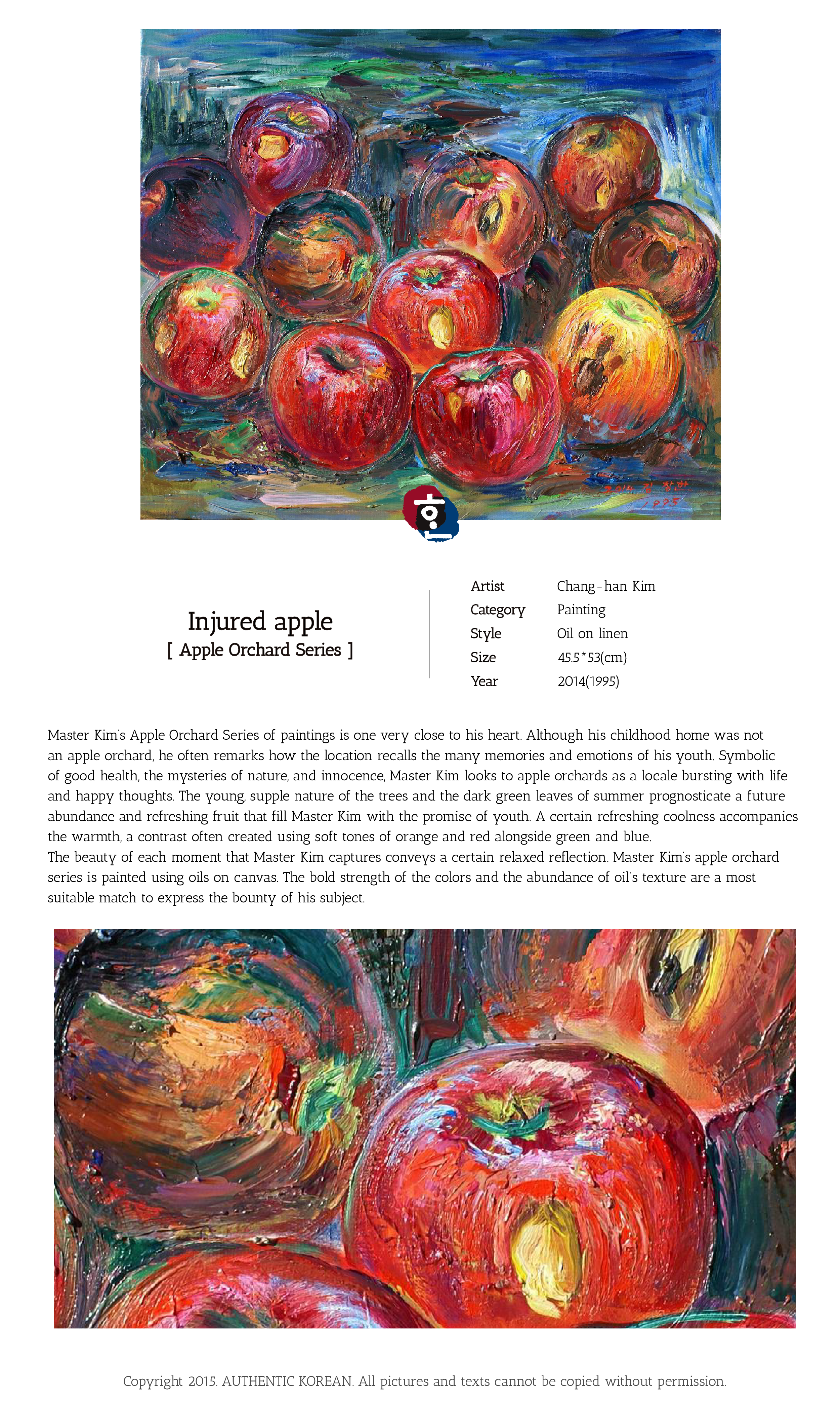 Authentic korean artist chang han kim apple series